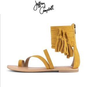 Jeffrey Campbell Glady Mustard Suede Sandals 10